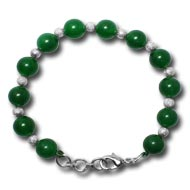 Green Onyx Round Bracelet with german silver balls