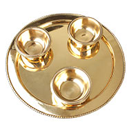 Haldi Kumkum containers in brass with plate
