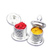 Haldi Kumkum containers in silver