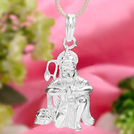 Hanuman locket in pure silver - XIV