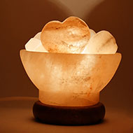 Himalayan Rock Salt Lamp - Wide Fire Bowl with Heart Salt Ball