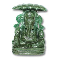 Kunda Ganesh in Green Jade - 887 gms