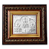 Lakshmi Ganesh Saraswati in Silver with Wooden Frame - I