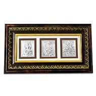 Lakshmi Ganesh Saraswati in Silver with Wooden Frame - II
