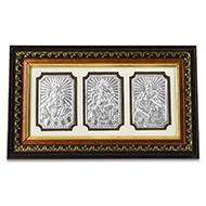 Lakshmi Ganesh Saraswati in Silver with Wooden Frame - III