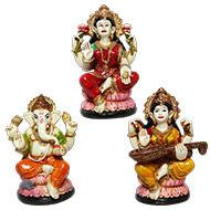 Laxmi Ganesh and  Saraswati  Idols  Set - I