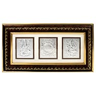 Laxmi Ganesh and Shree Yantra in Silver with Golden frame