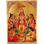 Lord Satyanarayan Photo in Golden Sheet - Large