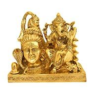 Lord Shiva with Ganesh in Brass