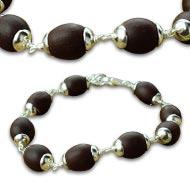 Lotus seed Bracelet in silver caps