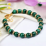 Malachite Bracelet - Gold Polish