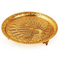 Mayur Pedestal Thali in brass