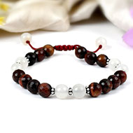 Moon stone and Red Tiger Eye beads Bracelet