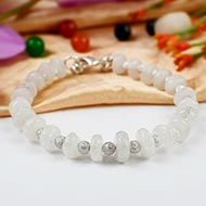 Moonstone Bracelet with german silver balls