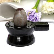 Narmada Lingam with Black Agate Yonibase