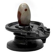 Narmada Shivling with Black Marble Yoni Base - II