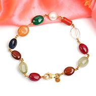 Navratna Bracelet in gold wire