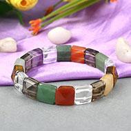 Navratna Gemstone Bracelet - Square beads