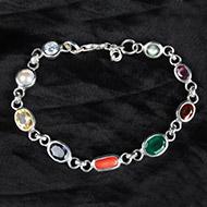 Navratna link Chain Bracelet