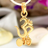 Om Locket with Damru in Pure Gold