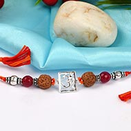 Om Rakhi with Pink Agate beads