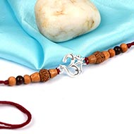 Om Rakhi  with Sandalwood beads