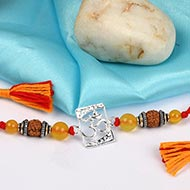 Om Rakhi  with  Yellow Agate beads