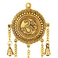 Brass Om Wall Hanging with Bells
