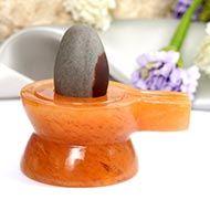 Orange Jade Yoni base with Lingam