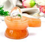 Orange Jade Yoni base with Sphatik Lingam