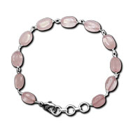 Oval Rose Quartz Bracelet - Design II