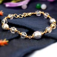 Parad and Sphatik bracelet in punchdhatu