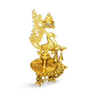 Peacock Brass Diya with bells