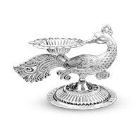Peacock Oil Lamp in Pure Silver - I