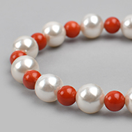 Pearl and Coral bead Bracelet