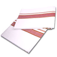 Puja Dhoti with Shawl-Rich Cotton - Maroon Border