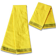 Puja Dhoti with Shawl - Yellow