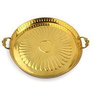 Puja Plate with handle in brass