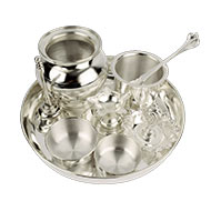 Puja Thali in pure silver - Design I