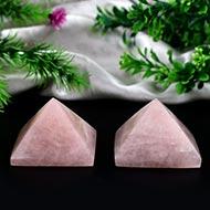 Pyramid in Natural Rose Quartz - Set of 2 - 138 gms