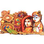 Radha Krishna and Peacock Key holder