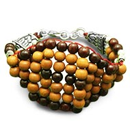 Red and white Sandalwood Multi Beads Bracelet - 8mm - Design I