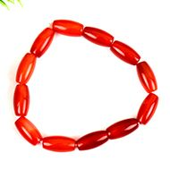 Red Carnelian drum shape bracelet - Design I