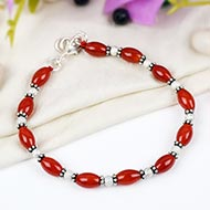 Red Carnelian drum shape bracelet - Design II