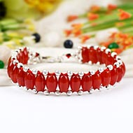Red Carnelian drum shape bracelet - Design III