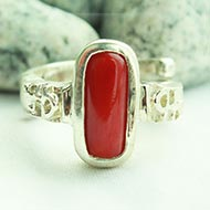 Red Coral Ring in pure silver