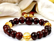 Red Sandalwood and Yellow Citrine Bracelets