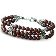 Red Sandalwood Bracelet - 6mm - Double triple turn