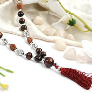 Red Tiger Eye and Rudraksha beads Mala