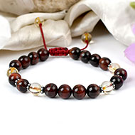 Red Tiger eye and Yellow Citrine beads bracelet